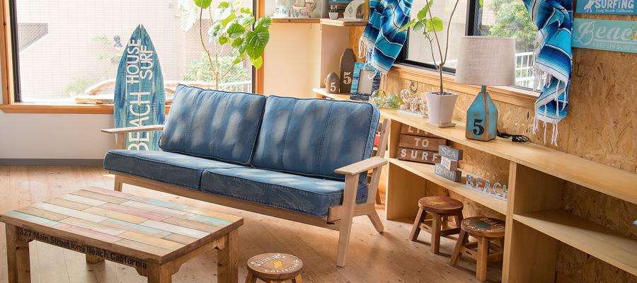 ウォッシュドデニムソファ Huntington II 3P Sofa