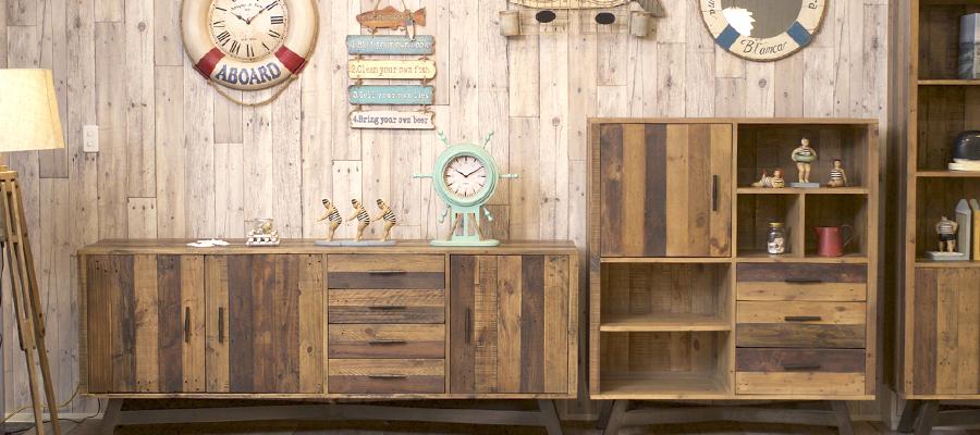 古材天然木の質感、機能性とコストパフォーマンスを追求したCosta Casaのリビング収納家具
