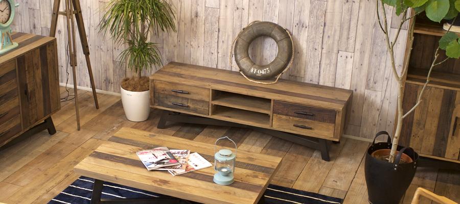 リサイクルウッド天然木の質感、機能性とコストパフォーマンスを追求したCosta CasaのTVボード